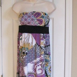 Poetry Sleeveless Strapless Maxi Dress Large